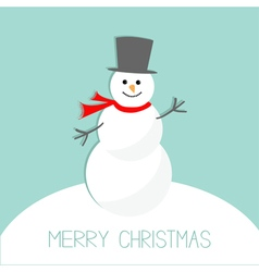 Cartoon snowman on snowdrift blue background merry vector