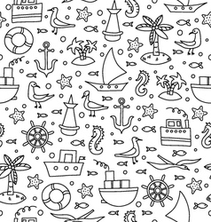 Black and white sea pattern vector