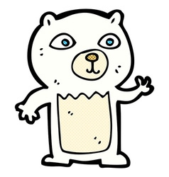 Comic cartoon waving polar bear cub vector