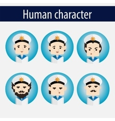 Set men european character sailor vector