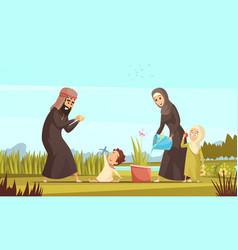 Arab family life cartoon poster vector