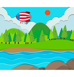 Balloon flying over the river vector image vector image