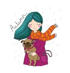 Beautiful cartoon girl and pug vector image vector image