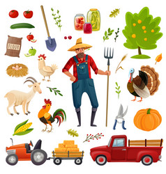 big farm cartoon set vector image