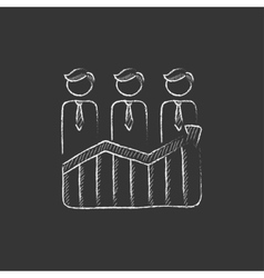 Businessmen standing on profit graph drawn in vector