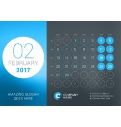 Calendar Template for February 2017 Design vector image vector image