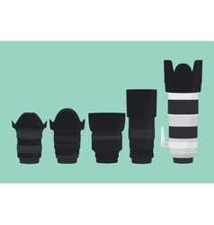 camera lens slr collection with flat style vector image vector image