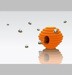 Cartoon beehive with bees vector