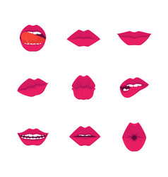 cartoon red lips icons set vector image
