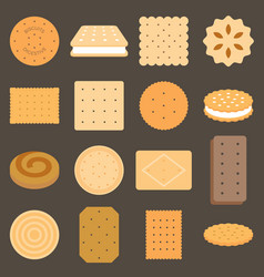 Collection of biscuit in flat design vector
