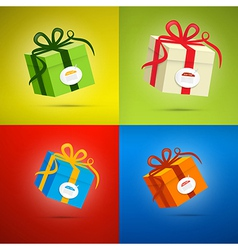 Colorful present box gift box set vector