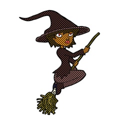 Comic cartoon witch riding broomstick vector