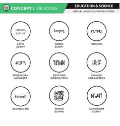 concept line icons set 18 linguistics vector image
