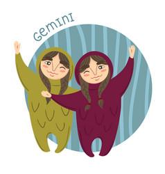 cute zodiac sign - gemini vector image