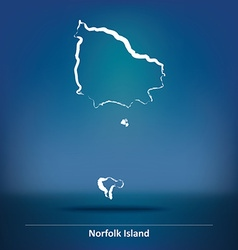Doodle map of norfolk island vector