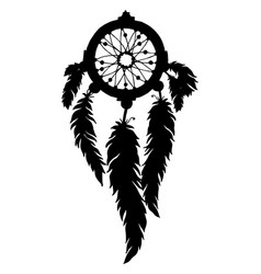dream catcher silhouette with feathers and beads vector image vector image