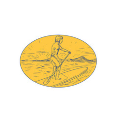 Dude stand up paddle board oval drawing vector
