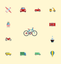 flat icons carriage jeep bicycle and other vector image