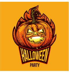 fun halloween engraved logo vector image vector image
