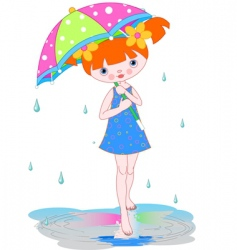 girl under summer rain vector image
