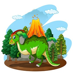 Green dinosaur in the forest vector image vector image