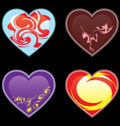 hearts and ornaments illustrations vector image vector image