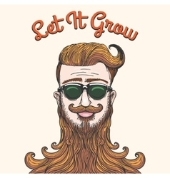 Hipster with huge beard vector image