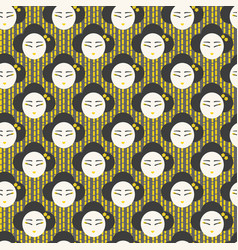 japanese face woman pattern seamless vector image