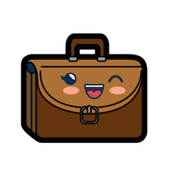 Kawaii briefcase icon vector