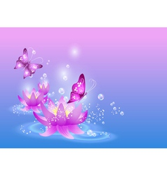 magic lilies and butterfly vector image vector image