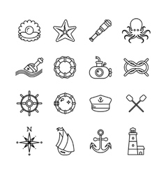 Marine sea nautical thin line icons vector image