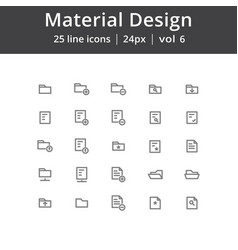 Material design folder line icons vector