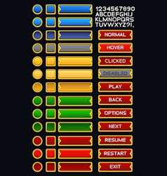 Medieval game buttons pack 3 vector