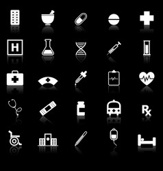 Pharmacy icons with reflect on black background vector