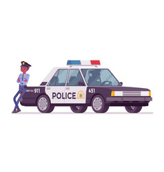 policeman near patrol car vector image