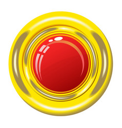Red button in gold frame vector image vector image