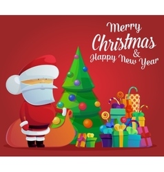 Santa claus on new year or christmas eve vector