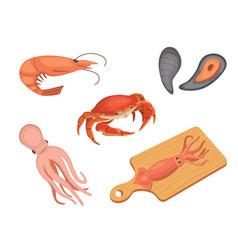 seafood set flat vector image vector image