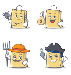 Set of bag character with doctor money bag farmer vector