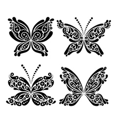 Set of beautiful black and white butterfly tattoo vector image vector image