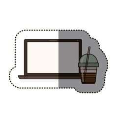 Silhouette sticker color with glass of cappuccino vector