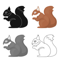 Squirrel icon in cartoon style for web vector