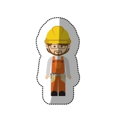 Sticker avatar worker with toolkit and glasses vector