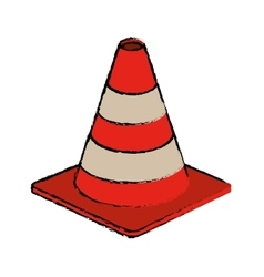 Traffic cone warning sign design drawing vector