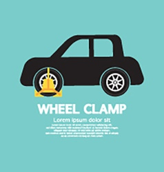 Wheel clamp on car side view vector