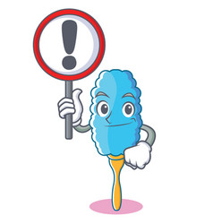 With sign feather duster character cartoon vector