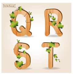 wood alphabet with branch green leaves vector image vector image