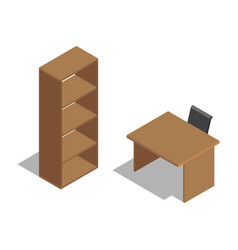 Wooden office table with chair near shelving vector