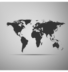 World map icon on grey background adobe vector