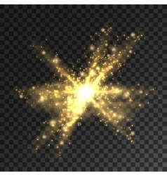 Golden glitter particles burst shining star vector
